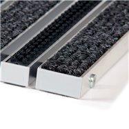 Textilné hliníková kefová vnútorné vstupná rohož FLOMA Alu Wide - dĺžka 100 cm, šírka 100 cm a výška 2,2 cm