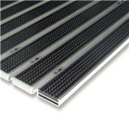 Čierna gumová hliníková vonkajšia vstupná rohož FLOMA Alu Low - dĺžka 100 cm, šírka 100 cm a výška 1 cm