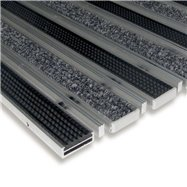 Textilné gumová hliníková kefová vnútorné vstupná rohož FLOMA Alu Low Extra - dĺžka 100 cm, šírka 100 cm a výška 1 cm