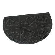 Gumová čistiaca vonkajšie polkruhová vstupná rohož FLOMA Shoes - Squares - dĺžka 40 cm, šírka 60 cm a výška 0,7 cm