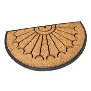 Kokosová čistiace vonkajšie polkruhová vstupná rohož FLOMA Rays - dĺžka 45 cm, šírka 75 cm a výška 2,2 cm