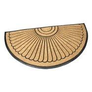 Kokosová čistiace vonkajšie polkruhová vstupná rohož FLOMA Flower - dĺžka 90 cm, šírka 180 cm a výška 2,2 cm