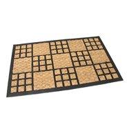 Kokosová čistiaca vonkajšie vstupná rohož FLOMA Square Mix - dĺžka 45 cm, šírka 75 cm a výška 1 cm