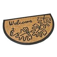 Kokosová čistiace vonkajšie polkruhová vstupná rohož FLOMA Oak Leaves - dĺžka 45 cm, šírka 75 cm a výška 0,8 cm