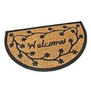 Kokosová čistiace vonkajšie polkruhová vstupná rohož FLOMA Welcome - Deco - dĺžka 45 cm, šírka 75 cm a výška 0,8 cm