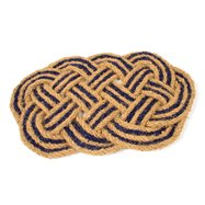 Kokosová vonkajšia čistiaca vstupná rohož FLOMA Jumbo Oval Blue - dĺžka 45 cm, šírka 75 cm a výška 3,5 cm