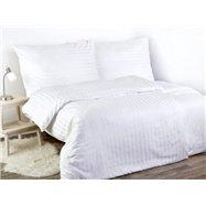 Damaškové posteľné obliečky ATLAS GRADL vzor DAM-369 Biele - prúžky 2 cm - 140 x 200 cm