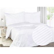 Damaškové posteľné obliečky ATLAS GRADL vzor DAM-815 Biele - prúžky 4 mm - 240 x 200 cm
