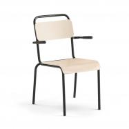 Jedálenská stolička Frisco, s opierkami rúk, čierny rám, HPL breza