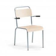 Jedálenská stolička Frisco, s opierkami, hliníkovo šedý rám, HPL breza