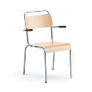 Jedálenská stolička Frisco, s opierkami, hliníkovo šedý rám, HPL buk