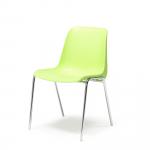Odolná plastová židle se skořepinovým sedákem, který se snadno čistí. Je stohovatelná a má chromovanou svařovanou konstrukci.   Skořepina z polypropylenu Snadná údržba Stohovatelná