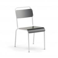 Jedálenská stolička Frisco, biely rám, HPL čierna