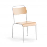 Jedálenská stolička Frisco, biely rám, HPL buk