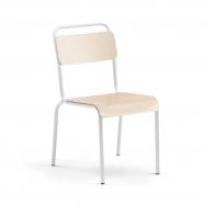 Jedálenská stolička Frisco, biely rám, HPL breza