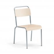 Jedálenská stolička Frisco, hliníkovo šedý rám, HPL breza