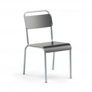 Jedálenská stolička Frisco, hliníkovo šedý rám, HPL čierna