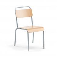Jedálenská stolička Frisco, hliníkovo šedý rám, HPL buk