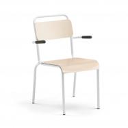 Jedálenská stolička Frisco, s opierkami rúk, biely rám, HPL breza