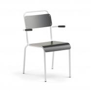 Jedálenská stolička Frisco, s opierkami rúk, biely rám, HPL čierna