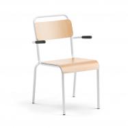 Jedálenská stolička Frisco, s opierkami rúk, biely rám, HPL buk