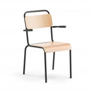 Jedálenská stolička Frisco, s opierkami rúk, čierny rám, HPL buk