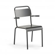 Jedálenská stolička Frisco, s opierkami rúk, čierny rám, HPL čierna