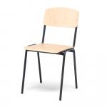 Štíhlá stohovatelná židle se sedákem a opěradlem vyrobenými z březové překližky. Židle má černě lakovanou kovovou konstrukci.   Štíhlý vzhled Březová překližka Stohovatelná