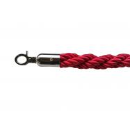 Lano k zábranovým stĺpikom - červené, krútené, strieborná karabína, dĺžka 150cm