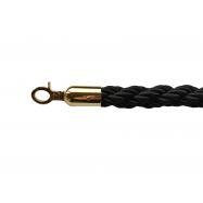 Lano k zábranovým stĺpikom - čierne, krútené, zlatá karabína, dĺžka 150cm