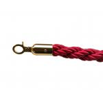 Lano k zábranovým stĺpikom - červené, krútené, zlatá karabína, dĺžka 150cm