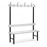 Robustní lavička s opěradlem a věšákem je ideální výbavou do každé šatny.   Bytelná konstrukce Vysoce odolný HPL laminát Poniklované věšákové háčky