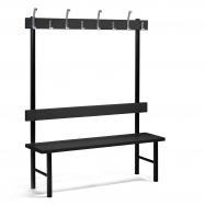 Šatníková lavička s vešiakom, 8 háčikov, 1500 mm, čierna