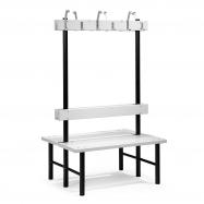 Šatníková lavička s vešiakom, obojstranná, 12 háčikov, 1000 mm, sivá