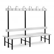 Šatníková lavička s vešiakom, obojstranná, 24 háčikov, 2000 mm, sivá