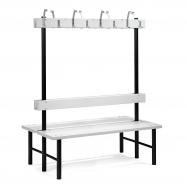 Šatníková lavička s vešiakom, obojstranná, 16 háčikov, 1500 mm, sivá