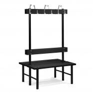 Šatníková lavička s vešiakom, obojstranná, 12 háčikov, 1000 mm, čierna