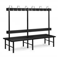 Šatníková lavička s vešiakom, obojstranná, 24 háčikov, 2000 mm, čierna