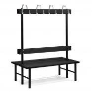 Šatníková lavička s vešiakom, obojstranná, 16 háčikov, 1500 mm, čierna