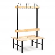 Šatníková lavička s vešiakom, obojstranná, 12 háčikov, 1000 mm, borovica