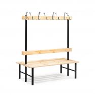 Šatníková lavička s vešiakom, obojstranná, 16 háčikov, 1500 mm, borovica