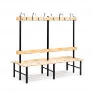 Šatníková lavička s vešiakom, obojstranná, 24 háčikov, 2000 mm, borovica
