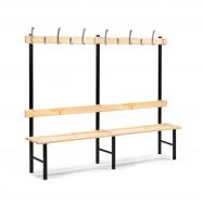 Šatníková lavička s vešiakom, 12 háčikov, 2000 mm, borovica