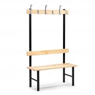 Šatníková lavička s vešiakom, 6 háčikov, 1000 mm, borovica