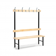 Šatníková lavička s vešiakom, 8 háčikov, 1500 mm, borovica