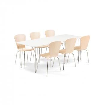 Jedálenský set Zadie + Milla, 1 stôl a 6 stoličiek vo farbe breza