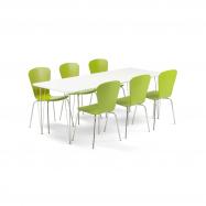 Jedálenský set Zadie + Milla, 1 stôl a 6 zelených stoličiek