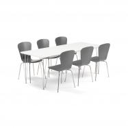 Jedálenský set Zadie + Milla, 1 stôl a 6 antracitových stoličiek