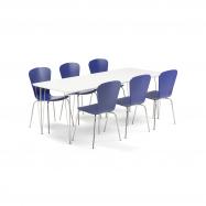 Jedálenský set Zadie + Milla, 1 stôl a 6 modrých stoličiek
