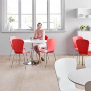 Jedálenský zostava: stôl Ø 1100 mm, biela / chróm + 4 stoličky, červené